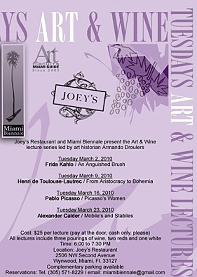 Miami Biennale Art & Wine Lecture Series at Joey's